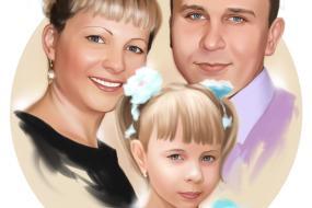 Семейный портрет по фото на холсте в Пензе — правильный подарок!